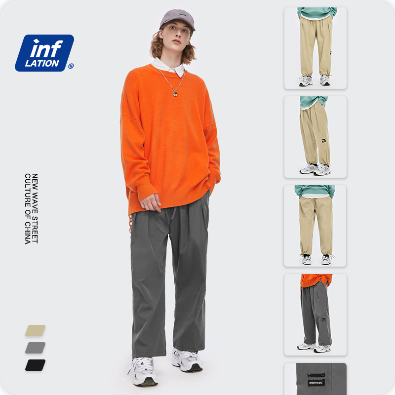 INFLATION Men Elastic Waist Casual Pant Men 2020 Autumn Loose Straight Pant Men Vintage Trousers Men Jogger In Solid Color 3234W