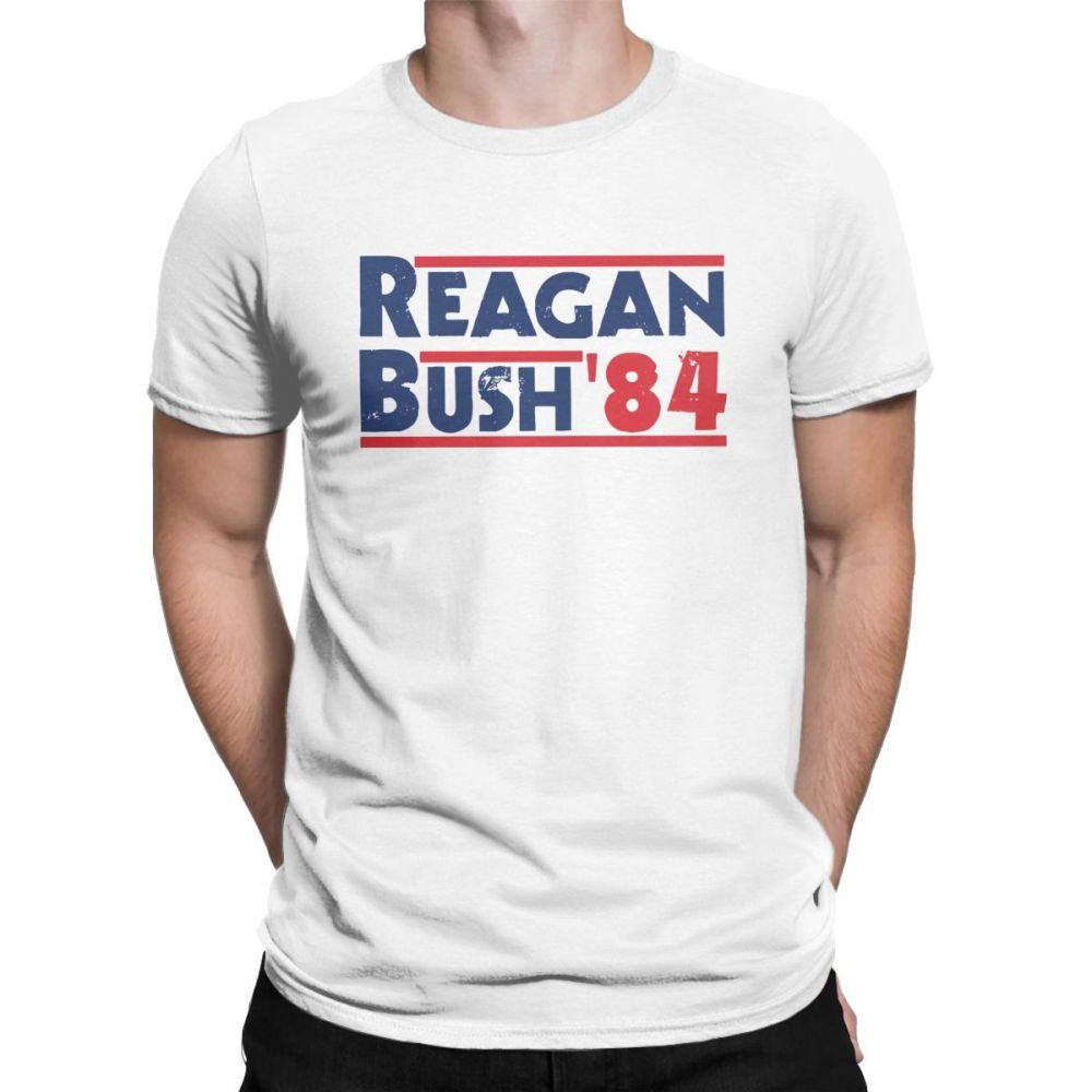 Printed Men T Shirt Reagan Bush '84 Vintage Tops Tees Short Sleeve Conservative Republican GOP O Neck Clothes Cotton T-Shirt