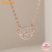 Clavicle Necklace Planet 925-Sterling-Silver Jewelry Cz Pendant Trustdavis Wedding-S925
