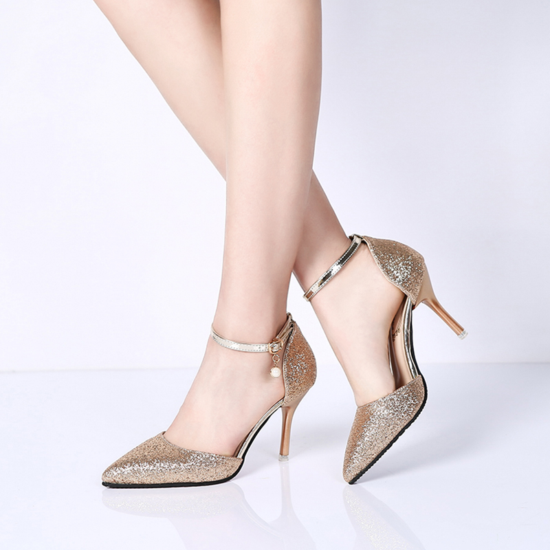 Rimocy elegant ladies shinning glitter gold silver pumps 2019 sexy pointed toe high heels ankle strap wedding party shoes woman 1