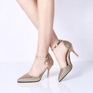 Image 2 - Rimocyสุภาพสตรีshinning Glitter GOLDปั๊มเงิน 2019 เซ็กซี่pointed Toeรองเท้าส้นสูงข้อเท้าสายคล้องรองเท้าPARTYรองเท้าผู้หญิง