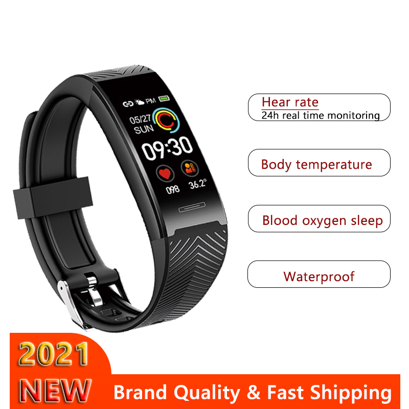 2021 Sport Smart Band Waterproof Fitness Tracker Bracelet Smartwatch Body Temperature Watch For iPhone Xiaomi Huawei Andriod IOS