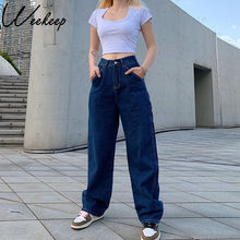 Weekeep Retro Etero Pachwork Grande Tasca pantaloni a gamba Larga delle Donne Dei Jeans A Vita Alta Streetwear Pantaloni di Modo di Estate Dei Jeans Allentati delle donne
