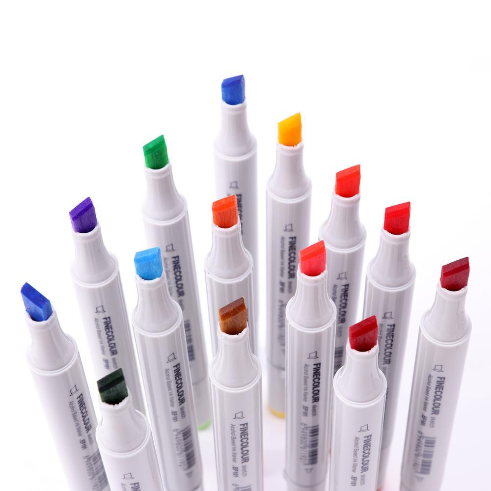 FINECOLOUR 36/48/60/72 ensemble de marqueurs d'art couleur double tête à base d'alcool marqueurs de croquis stylo pour artiste peinture couleur Design marqueur fournitures d'art - 2