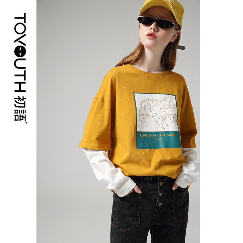 Toyouth Patchwork Long Sleeve T-Shirts For Women Cartoon Printed Round Neck Tee Shirt Hit Color Autumn Tops