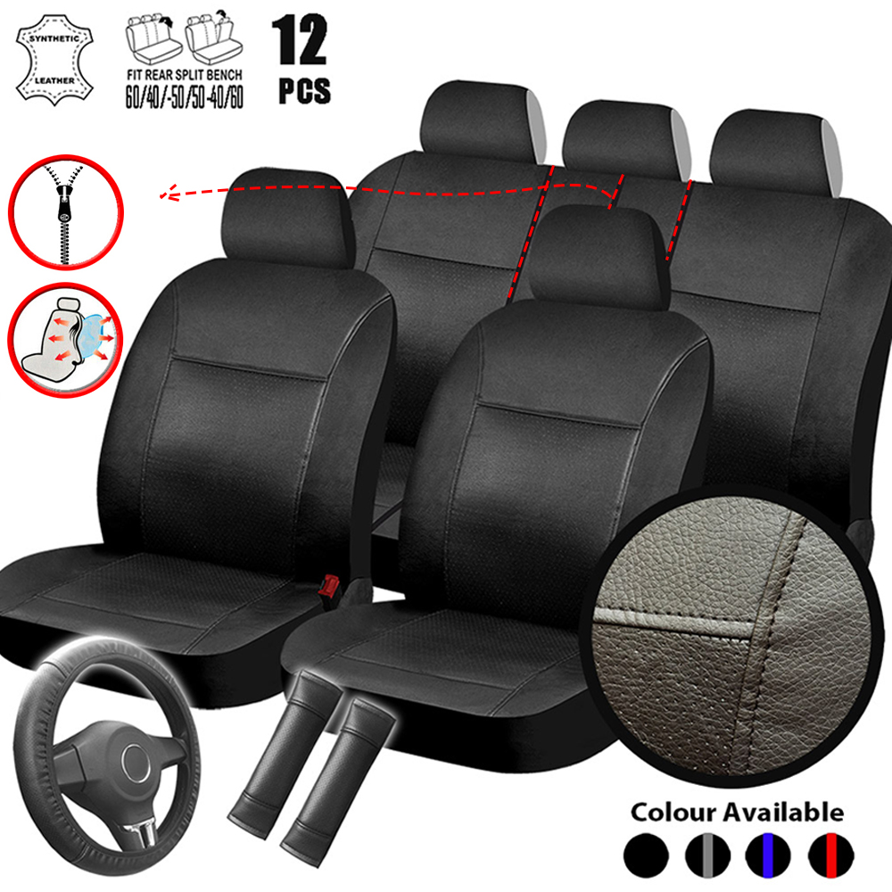 5 Seats PU Leather Car Seat Cover Rear 40//60 50//50 Bench Protection Universal US