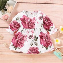 Toddler Baby Girls Dress Girls 2020 Summer Half Sleeve Rose Flower Print Dree Girls Cute Ruffle Process Party Dress Vestidos(China)