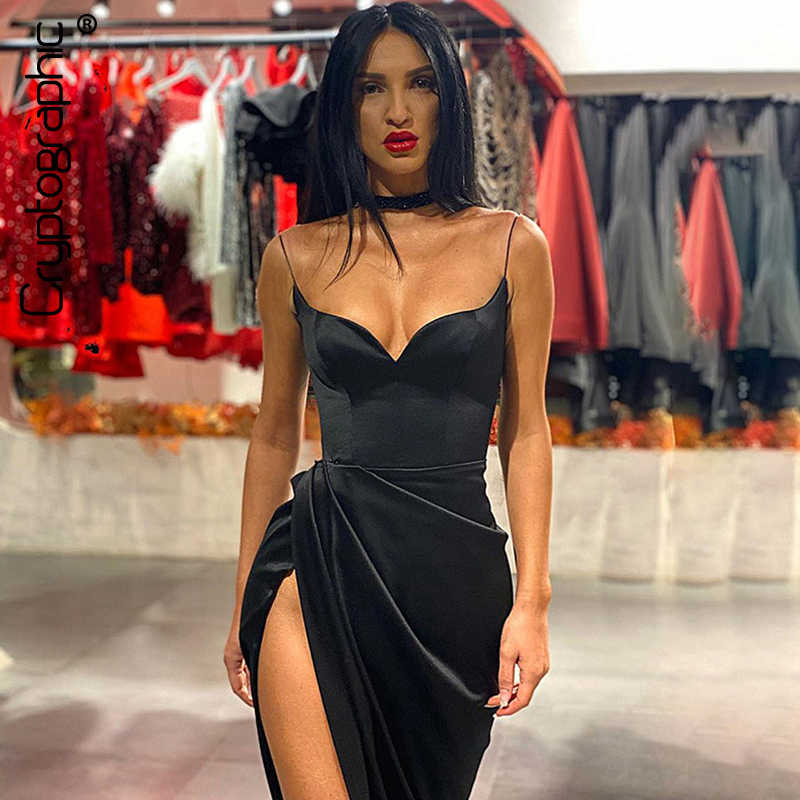 Cryptografische Spaghettibandjes Black Sexy Backless Midi Jurken Gown Party Club Mouwloze Bodycon Split Jurk Vestidos Effen