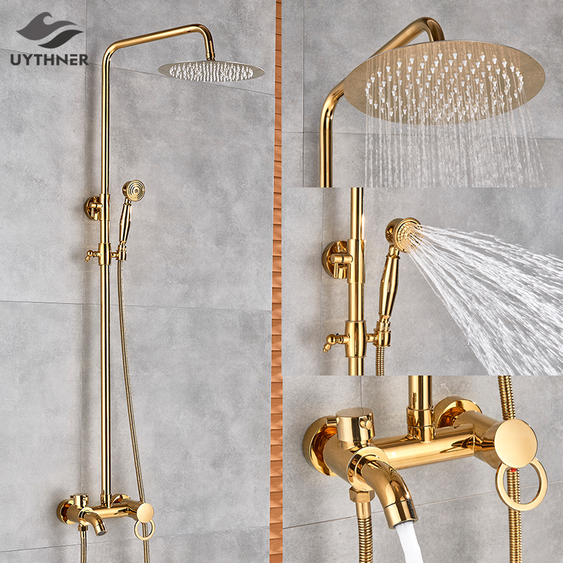 Gold Polish Bathroom Rain Shower Faucet Bath Shower Mixer Tap 8 Rainfall Head Shower Set System Recommended Products Cards Carousel