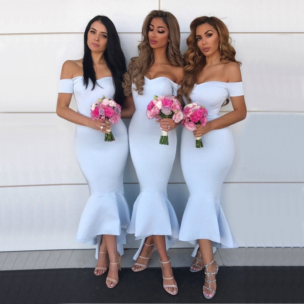 Fashion Mermaid Bridesmaid Dresses Off The Shoulder Satin Wedding Party Maid of Honor Dress Sweetheart Ruffles Bridesmaids Gowns
