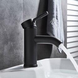 Nowoczesny malowany ze stali nierdzewnej kran umywalka łazienkowa kran czarny kran z mieszaczem pojedynczy otwór