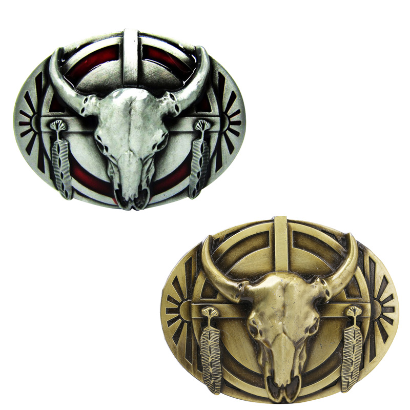Western Cowboy Belt Buckle Metal Bull Skull Longhorn Buffalo Buckle Silver Gold Color Cool Jeans Belt Accessories Buckle