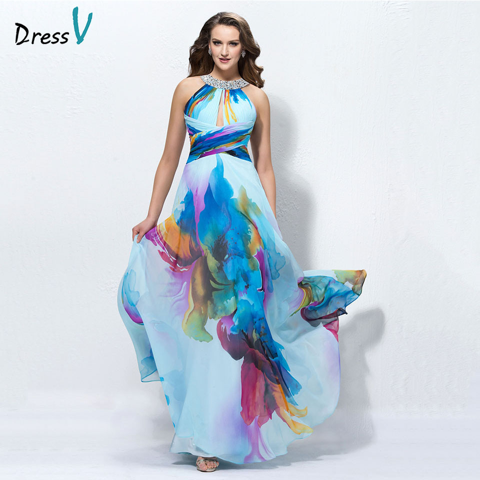 Dressv Printing Long Prom Dress Halter Neck Beading A Line Simple Backless Floor Length Evening Party Gown Prom Dresses