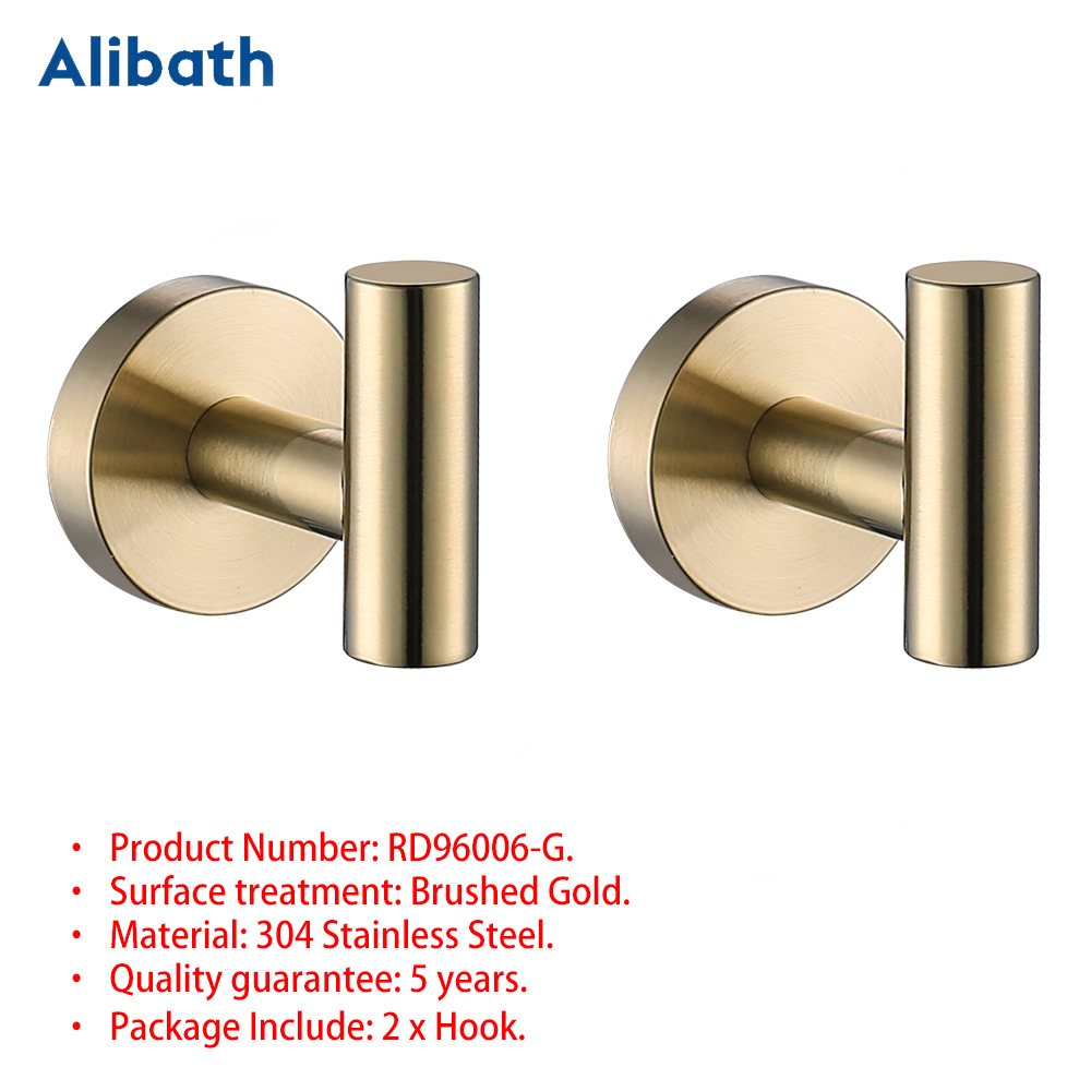 <font><b>SUS</b></font> <font><b>304</b></font> Stainless steel Brushed Gold Robe Hooks Wall Hook Clothes Hanger Towel Hooks Coat Door Hooks Bathroom Accessories. image