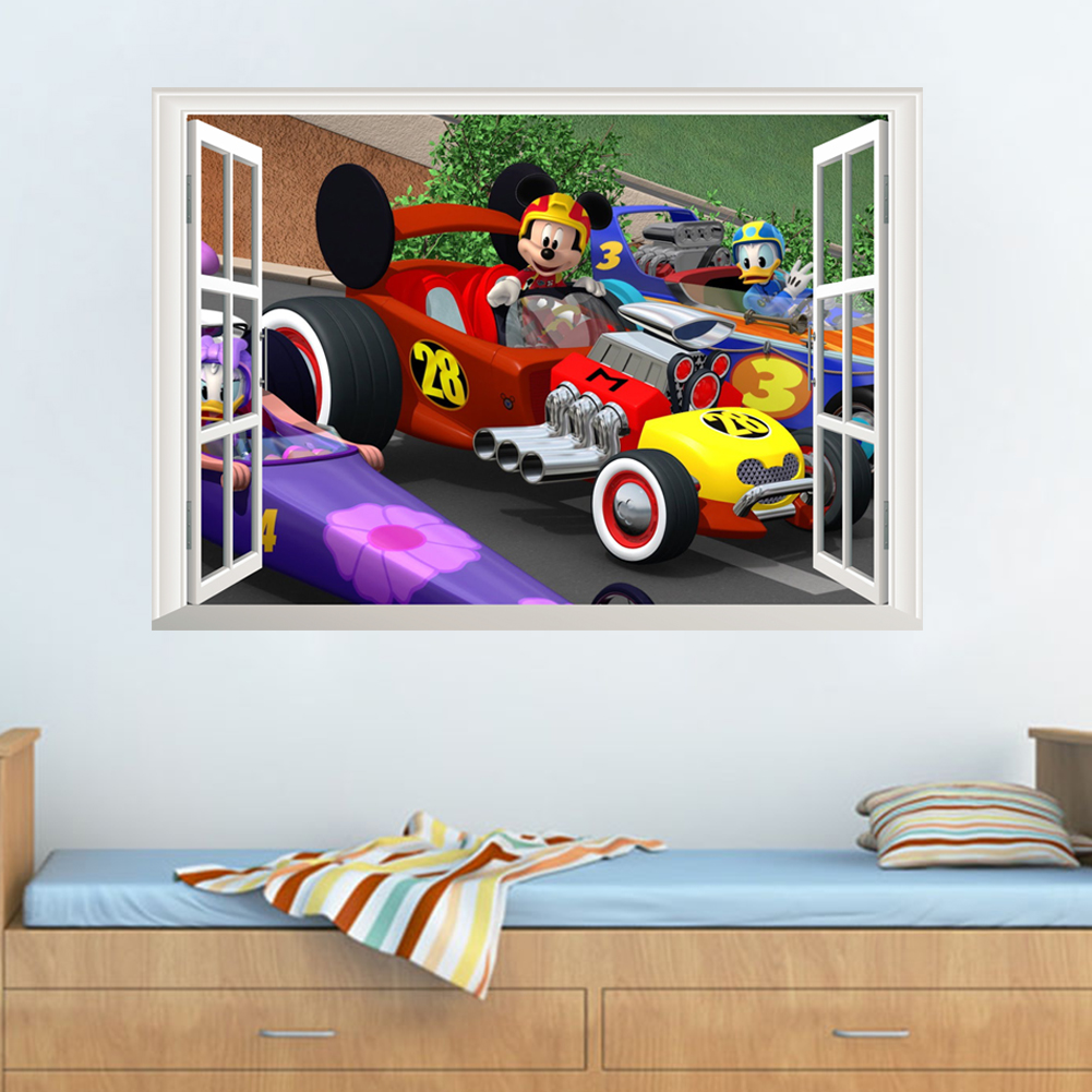 Cartoon Mickey Racing Car 3D Effect Window Wall Stickers For Home Decor Living Room Kids Rooms Wall Decals Pvc Mural Art Poster