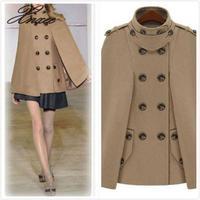 2019 new women's fashion shawl cape coat double breasted woolen cape coat women