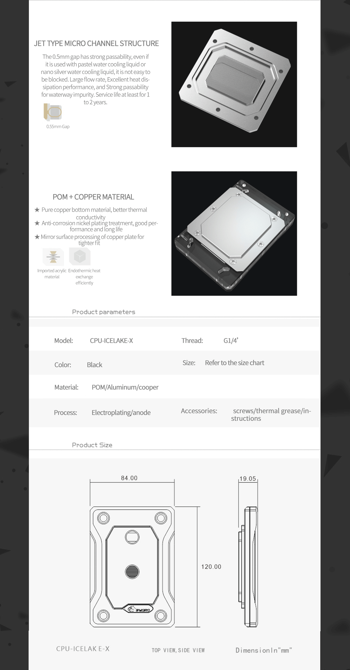 Bykski CPU Water Block For INTEL LGA4189 , Black POM and Copper Version , Water Cooling Cooler Radiator CPU-ICELAKE-X