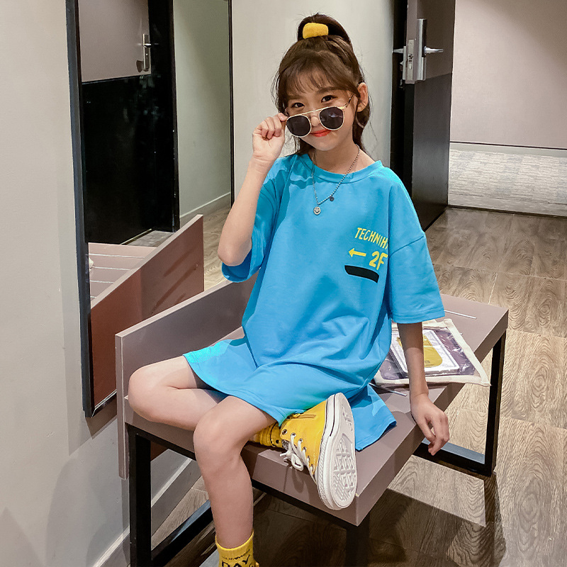 Girls Long T-shirt New 2020 Summer Big Kids Cotton Tees Children Casual Long Style Tshirt Baby Loose Kids Clothes Girls 3 To 14y