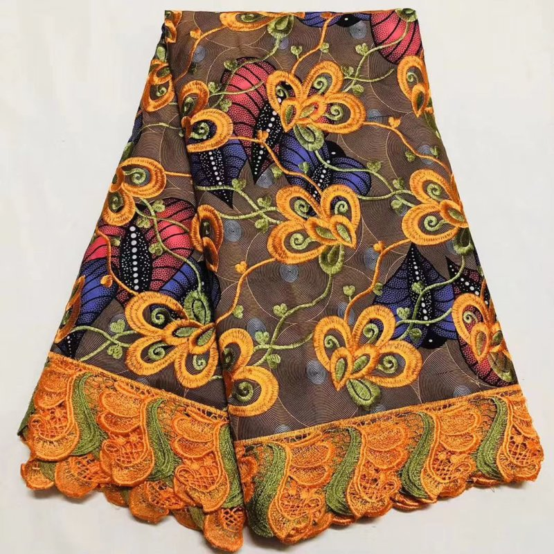 African Ankara Lace Wax Fabric High Quality 100% Cotton Wax Pange Africain Nigerian Prints Wax With Guipure Lace