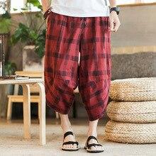 Zogaa Mens Harem Streetwear Pants Cotton Linen Pants Male Summer Casual Ankle-Length Pants Man 2019 Plaid Baggy Loose Trousers цена в Москве и Питере
