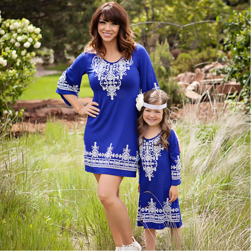 Kids Girls Retro Chic Boho Hippie Dress for Evening Party 2017 Newest Arrival Mother Daughter Dresses Mama Mommy and Me Clothes