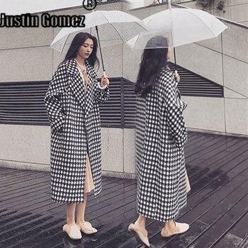 Large-size Women's Checked Plaid One Button Woolen Coats Plus Size Vintage Women's Autumn Coat Retro Warm Thicker Ladies Coats