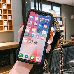 Image 5 - Кросс боди Чехол бумажник для iPhone 12 Pro mini 11 Pro XS MAX XR X 8 Plus чехол с отделением для карт Сумочка Кошелек с длинным ремешком и цепочкой