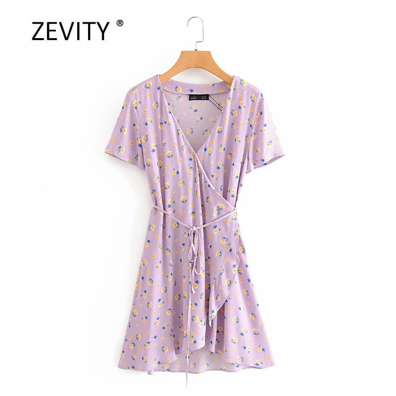 Women elegant french cross v neck floral print ruffles mini dress Ladies summer short sleeve Vestidos Chic party Dresses DS4070