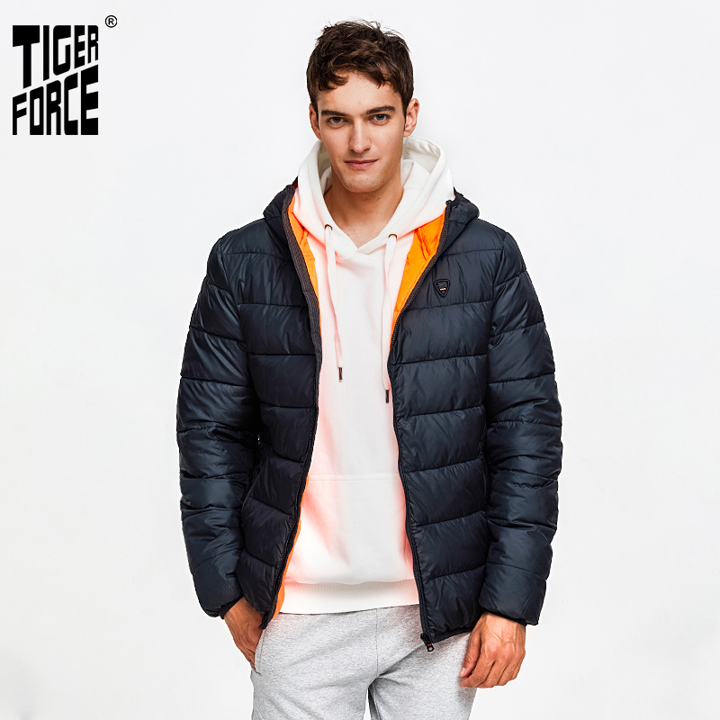 TIGER FORCE Men Puffer Jacket Spring Autumn Casual Hooded Coat Cotton Padded Coat Men's Parkas Contrast Male Outerwear Clothing