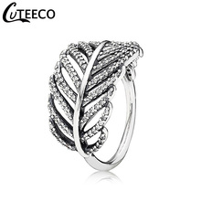 CUTEECO 2018 New CZ Zircon Finger Rings For Women Fashion Silver Color Leaves Fit Brand Wedding Engagement Jewelry