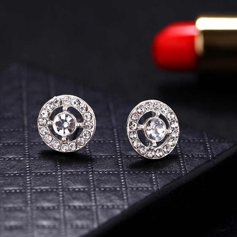 Carter lisa moda luxo jóias de prata agulha oco esculpida brincos de cristal feminino para a mulher presente natal