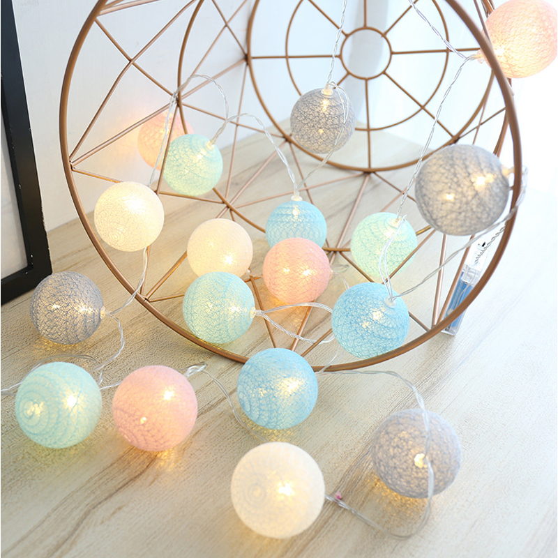 LED Cotton Ball String Lights Battery 10 Cotton Ball Light Chain Fairy LED Lights Christmas Birthday Party Decoration Ligting