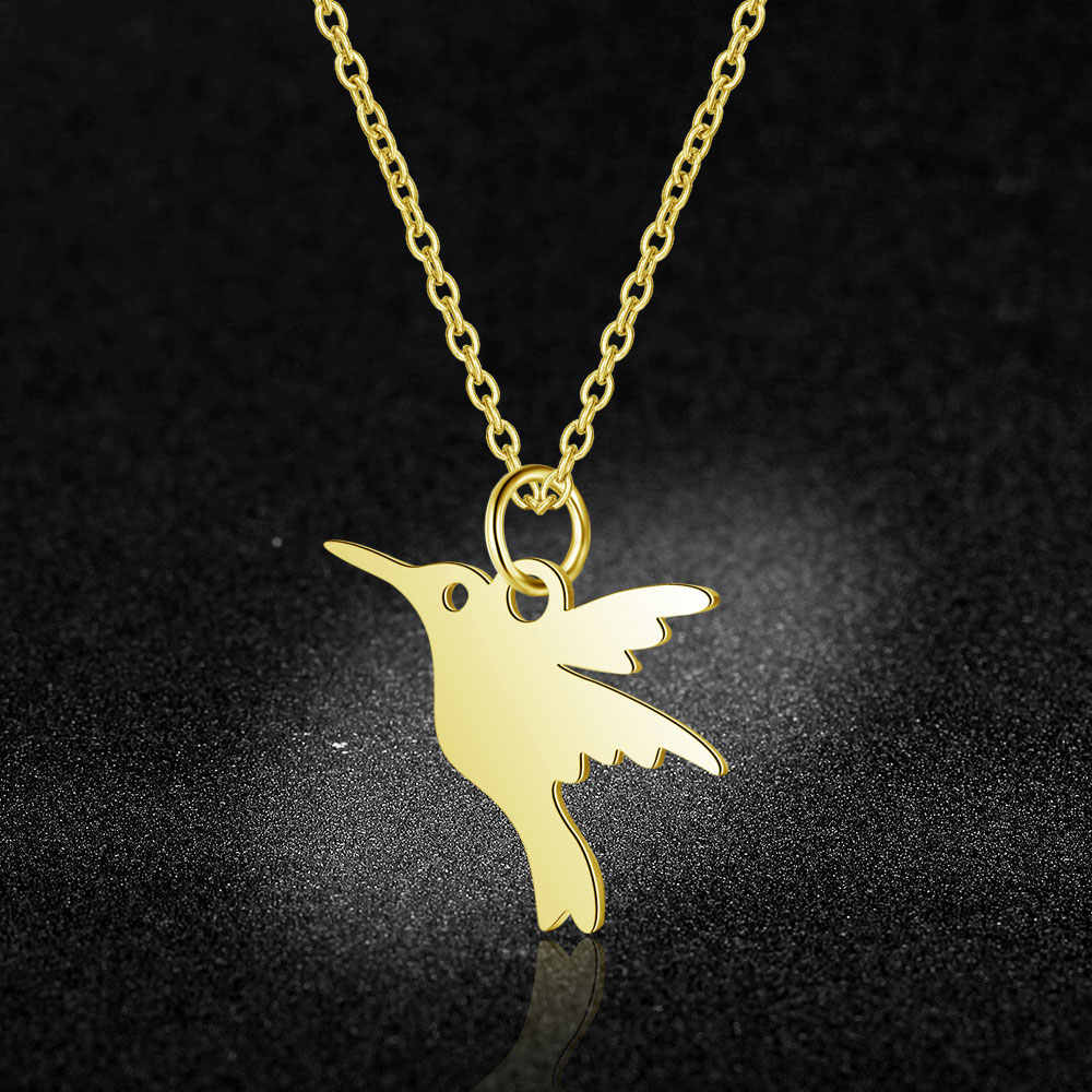 100% Stainless Steel Hummingbird Charm Necklace Never Tarnish Steel High Polished Laser Cutting Bird Pendant Women Necklaces