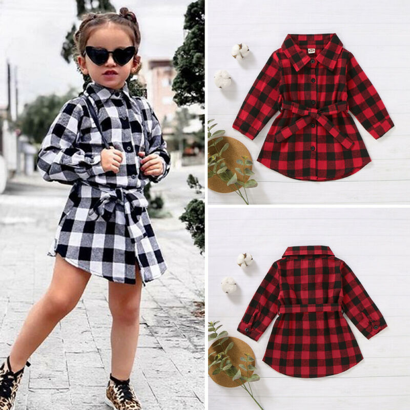 Kids Baby <font><b>Girl</b></font> <font><b>Red</b></font> Plaids Shirt <font><b>Dress</b></font> <font><b>Christmas</b></font> Clothes Party <font><b>Long</b></font> <font><b>Sleeve</b></font> Waistband Mini <font><b>Dress</b></font> Child <font><b>Girl</b></font> Cotton Xmas <font><b>Dress</b></font> 1-5Y image