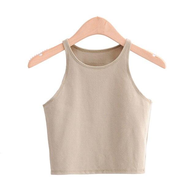 BRADELY MICHELLE 2020 Summer Sexy Women's Streetwear Crop Top Elastic Cotton sleeveless O-neck Solid Short Tank Bar 2