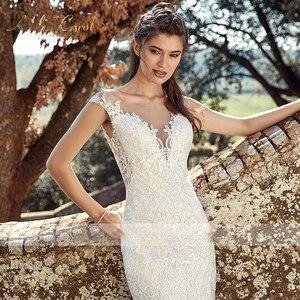 Image 3 - BAZIIINGAAA zarif dantel Mermaid düğün elbisesi tam çiçek baskı dantel Up kilise düğün için uygun afrika avrupa gelin