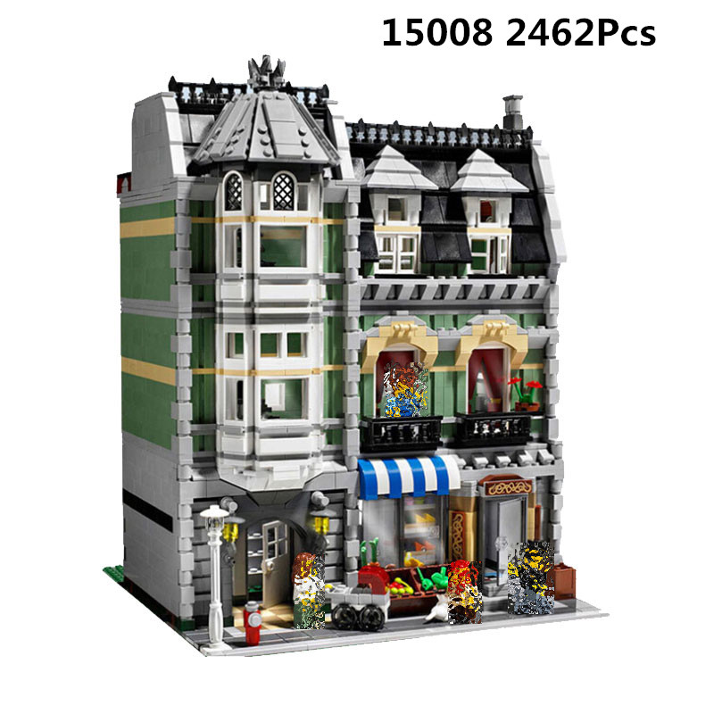 <font><b>15008</b></font> 84008 City Street Compatible With New 10185 Green <font><b>Grocer</b></font> Model Building Blocks Bricks Assembly Kids Toys Chritmast Gift image
