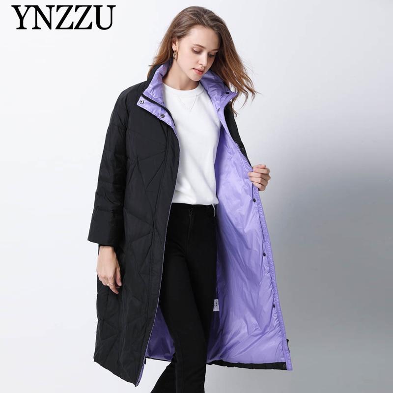 2019 Winter Women Oversize   Down     coat   Long Casual High collar Warm Female   Down     coat   Fashion Loose Long Sleeve Outwear YNZZU 9O066