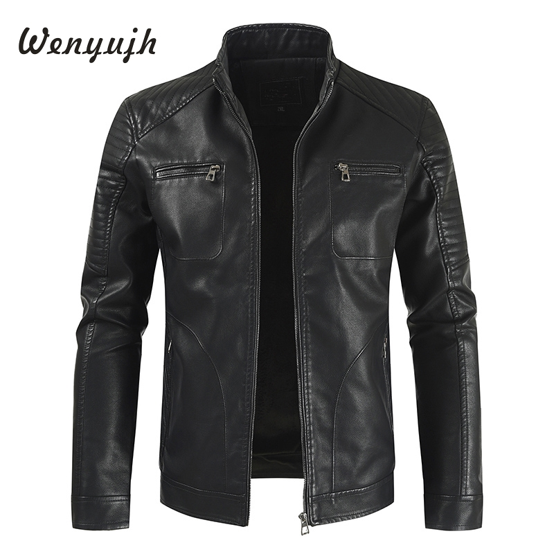 Wenyujh Brand PU Leather Jacket Men Long Stand Collar Solid Color Jackets Coats Men's Leather Jackets Men Clothing Jaqueta couro