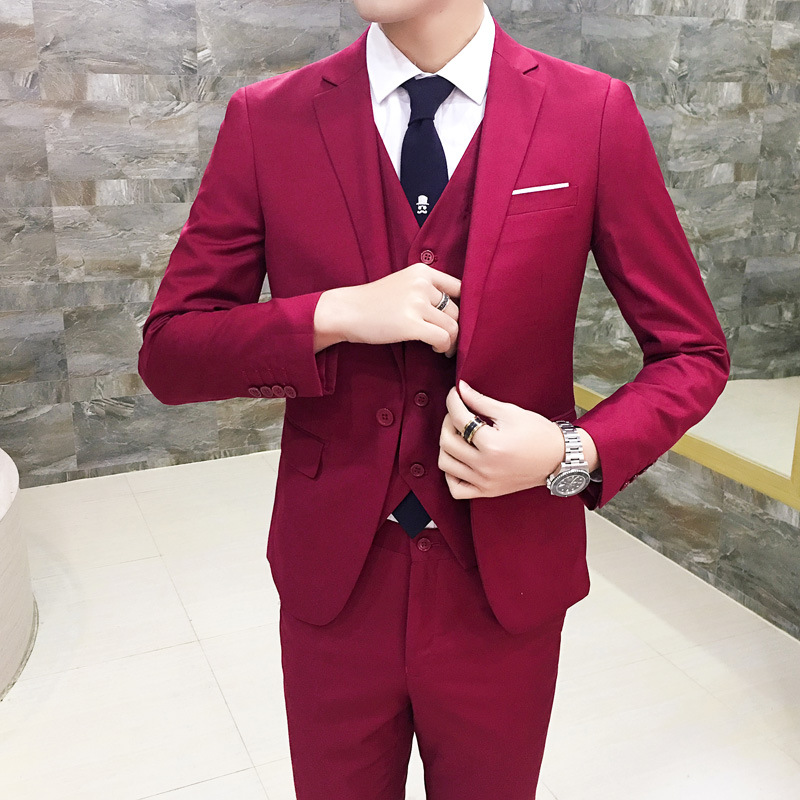 Men's Suit Set Teenager Korean-style Slim Fit Small Suit Three-piece Set Business Casual Suit Marriage Formal Wear Fashion