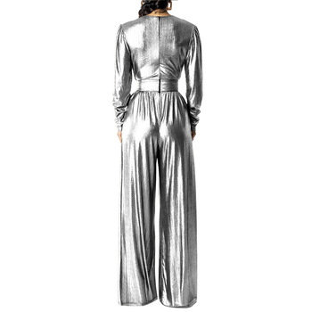 Adogirl Elegant Glitter Wide Leg Pants Jumpsuit Women Sexy Deep V Neck Long Sleeve Ruched with Pockets Party Romper Club Outfits 2