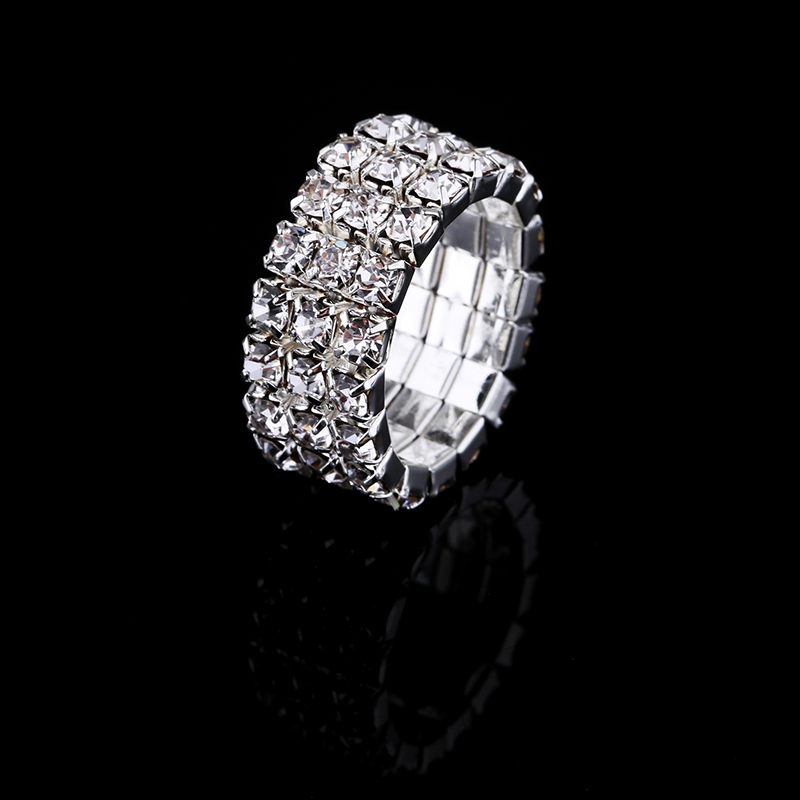 2017 Hot Sale Top Fashion Channel Setting Party Classic Jewelry Anillos Stunning Multi Row Diamante Stretch Rings For Women 3