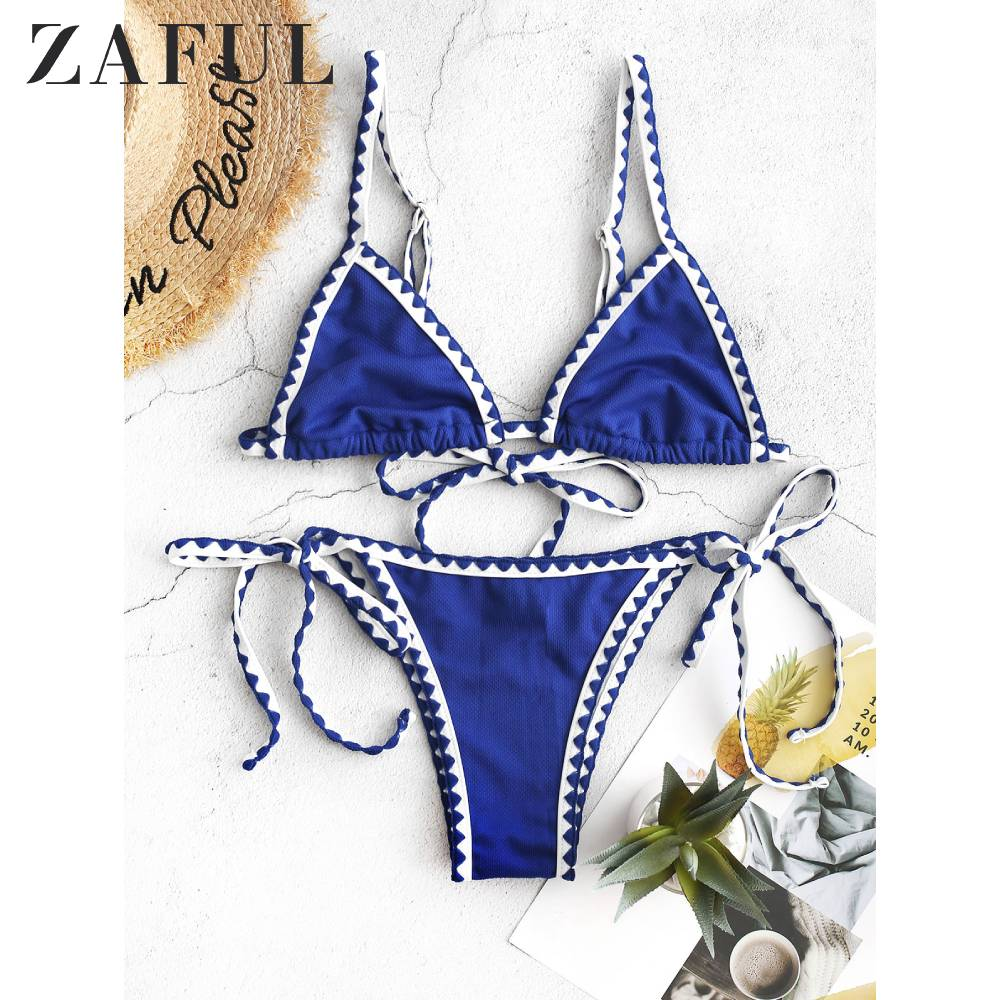 ZAFUL Textured Whip Stitch Bralette Bikini Swimwear For Women Low Waisted Spaghetti Straps String Two Pieces Swimsuit