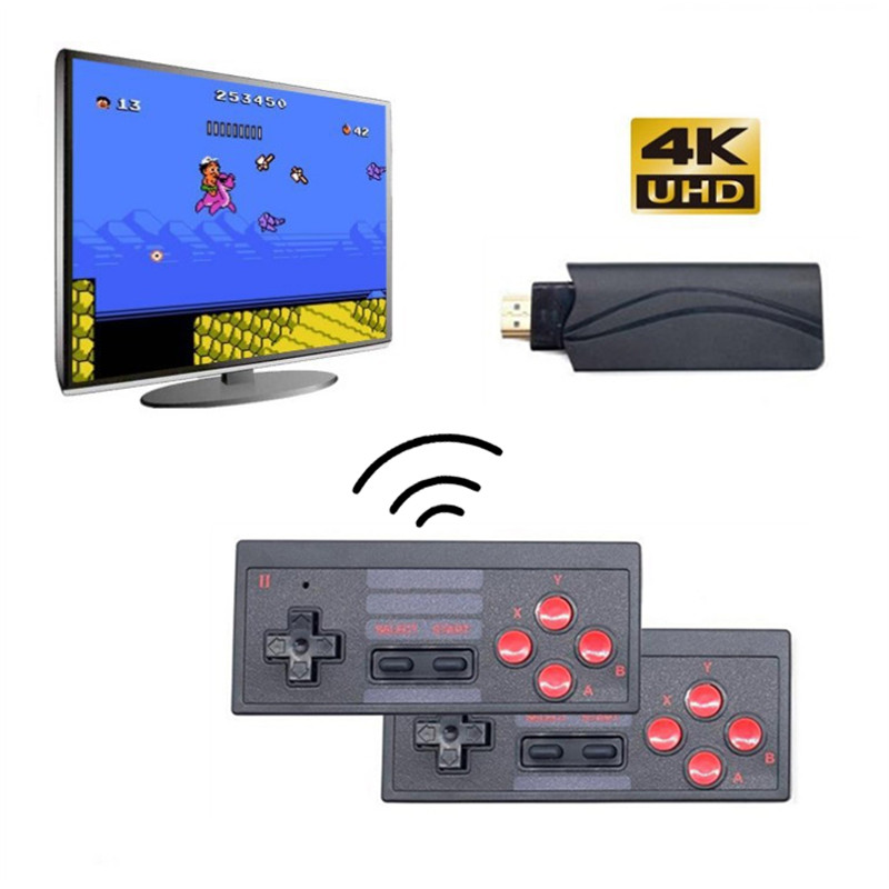 Wireless Mini TV Video Game Console Build In 628 Classic Game HDMI 4K Wireless Controllers Retro Game Player Plug   Play