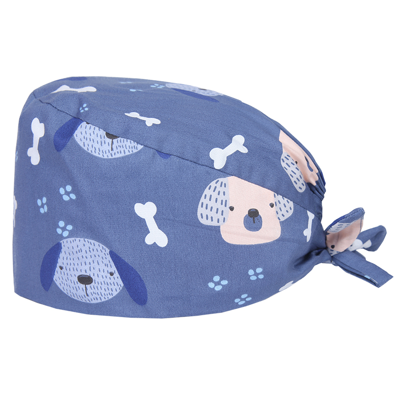 Cute Dog Surgical Scrub Caps Veterinary Work Hat Medical OR Skull Cap 100% Cotton With Sweatband For Women Men Chef Working Hats