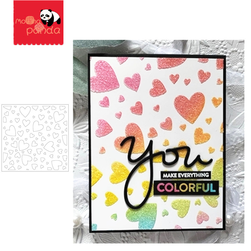 TUMBLING HEARTS Stamp Stencil Metal Cutting Dies And Stamps For Painting Stencil Template Scrapbooking DIY Crafts Paper