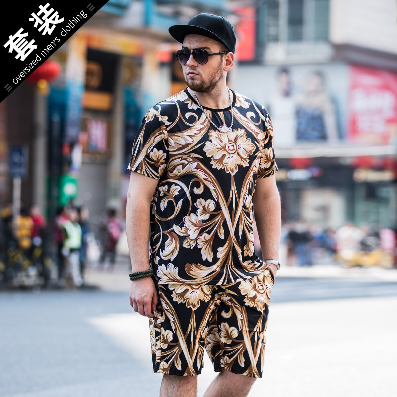 2018 Summer New Style Plus-sized Menswear Short Sleeve T-shirt Suit Trend Printed T-shirt Shorts MEN'S Wear Two-Piece Set