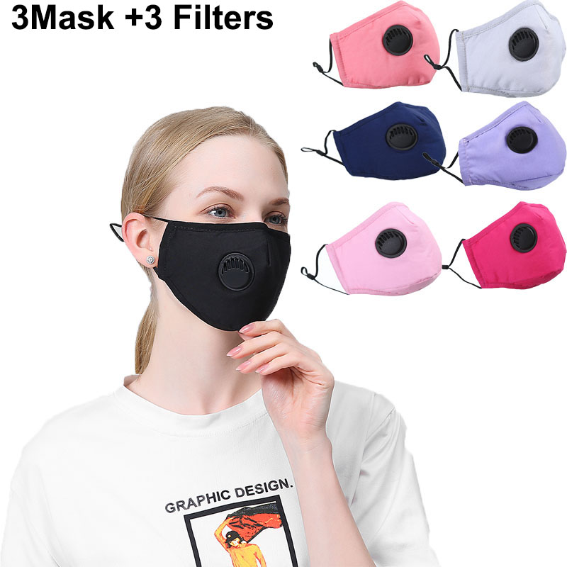 3set  Women Fabric Mouth Mask Print Reusable Dustproof Face Mask Breathable With Fliter Pad Warm Mouth Fabric Mask