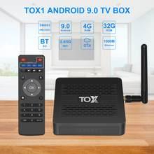 Tox1 amlogic s905x3 android 9.0 caixa de tv 4gb 32gb conjunto caixa superior 2.4g 5g wifi bluetooth 1000m lan 4k media player dolby atmos som