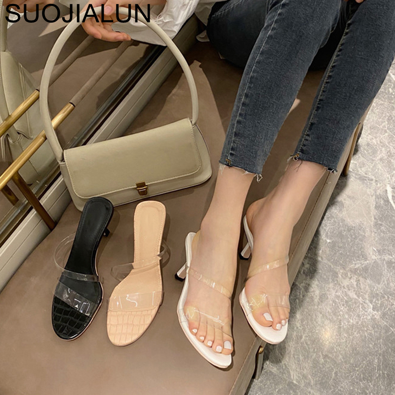 SUOJIALUN PVC Transparent Women Slipper Open Toe Thin High Heel Fashion Sandals 2020 Brand Outdoor Beach Slides Flip Flop